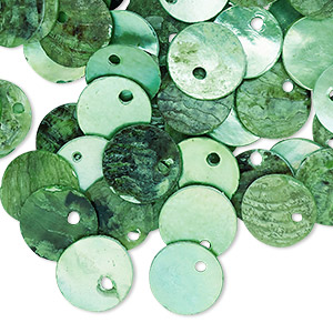 drop, mussel shell (dyed / coated), light green, 10mm flat round. sold per pkg of 100.
