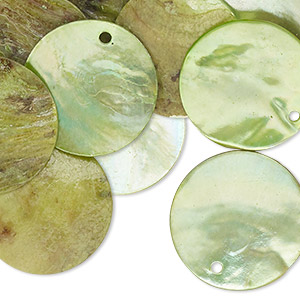 drop, mussel shell (dyed / coated), light green, 20mm flat round. sold per pkg of 25.