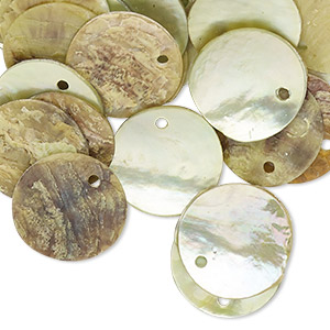 drop, mussel shell (dyed / coated), lime, 15mm flat round. sold per pkg of 100.