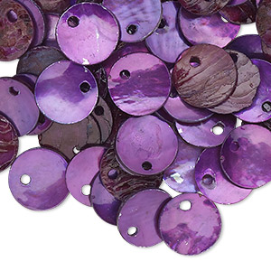 drop, mussel shell (dyed / coated), purple, 10mm flat round. sold per pkg of 100.