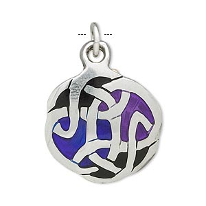 drop, pewter (tin-based alloy) and enamel, black and blue, 25x24mm celtic knot. sold individually.