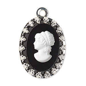 drop, preciosa, czech glass and silver-plated brass, opaque white and black, 16x12mm single-sided left-facing oval cameo with woman. sold per pkg of 36.