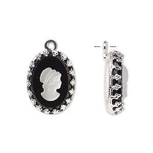 drop, preciosa, czech glass and silver-plated brass, opaque white and black, 16x12mm single-sided right-facing oval cameo with woman. sold pkg of 36.