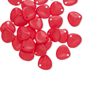drop, preciosa, czech pressed glass, frosted opaque light scarlet red, 8x7mm triangular teardrop. sold per pkg of 30.