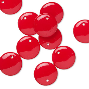 drop, preciosa, czech pressed glass, opaque red, 12mm flat round. sold per pkg of 10.