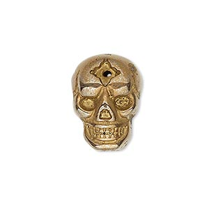drop, pyrite (stabilized / coated), antique copper, 20x15mm single-sided skull, mohs hardness 6 to 6-1/2. sold individually.