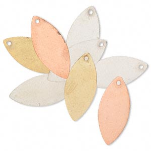 drop, silver- / gold- / copper-finished brass, 26x11mm double-sided marquise. sold per pkg of 8.