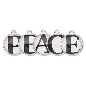 drop, silver-finished pewter (zinc-based alloy) and plastic, black and white, 20mm single-sided domed flat round with peace. sold per 5-piece set.