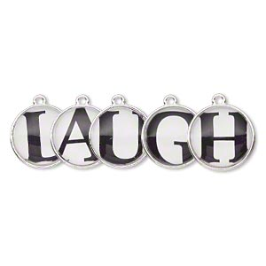 drop, silver-finished pewter (zinc-based alloy) and plastic, black and white, 20mm single-sided domed flat round with laugh. sold per 5-piece set.