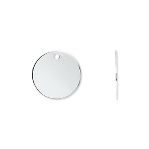 drop, silver-plated brass, 15mm flat round. sold per pkg of 500.