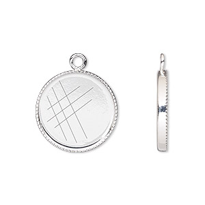 drop, silver-plated brass, 17mm round with beaded edge and 16mm round bezel cup setting. sold per pkg of 6.