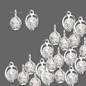 drop, silver-plated brass, 8mm wrapped filigree round. sold per pkg of 100.