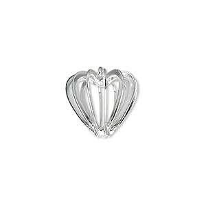 drop, silver-plated steel and brass, 14x14mm heart cage. sold per pkg of 20.