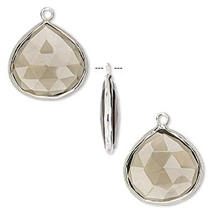 drop, smoky quartz (heated / irradiated) and sterling silver, 20mm double-sided faceted teardrop. sold per pkg of 2.