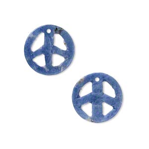drop, sodalite (natural), 15mm peace sign, b grade, mohs hardness 5 to 6. sold per pkg of 2.