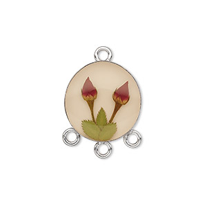 drop, sterling silver / resin / rose, antique sepia and red, 16mm round with 3 loops. sold individually.