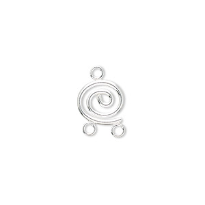 drop, sterling silver, 10x9mm spiral wire with 2 loops. sold per pkg of 2.