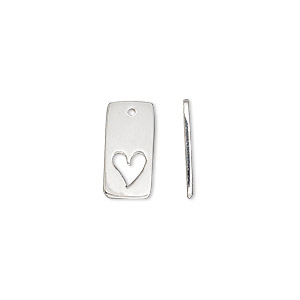 drop, sterling silver, 15x7mm single-sided flat rectangle with cutout heart. sold individually.