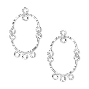 drop, sterling silver, 19x15mm oval with 4 loops. sold per pkg of 2.