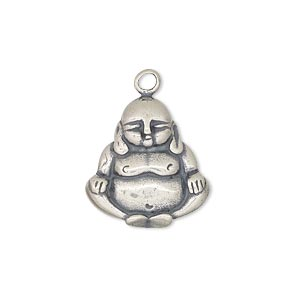 drop, sterling silver, 19x18mm single-sided buddha. sold individually.