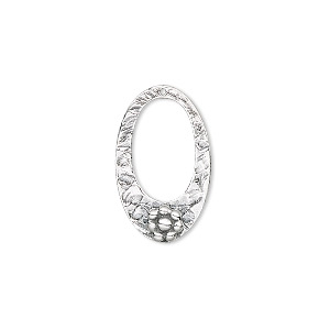 drop, sterling silver, 20x12mm go-go oval with flower. sold individually.