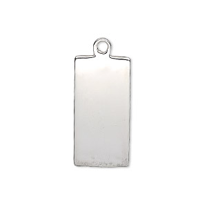 drop, sterling silver, 24x12mm single-sided smooth flat rectangle, 18-20 gauge. sold individually.