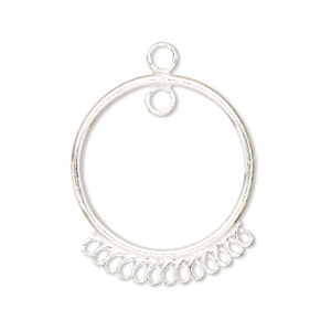 drop, sterling silver, 25mm circle with 13 bottom loops. sold per pkg of 2.