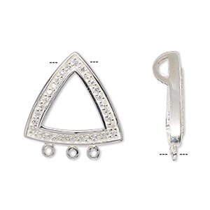 drop, sterling silver and cubic zirconia, clear, 20x20x20mm open triangle with 3 loops. sold individually.