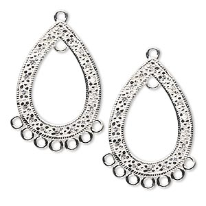 drop, sterling silver and cubic zirconia, clear, 26x18mm single-sided open teardrop with 8 closed loops. sold per pkg of 2.
