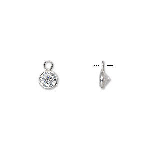 drop, sterling silver and cubic zirconia, clear, 5.5mm faceted round. sold per pkg of 2.