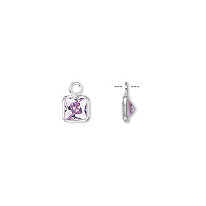 drop, sterling silver and cubic zirconia, lavender, 5.5x5.5mm faceted square. sold per pkg of 2.