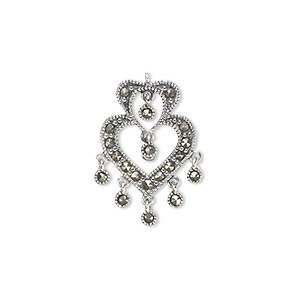 drop, sterling silver and marcasite, 21x16mm two open hearts. sold per pkg of 2.