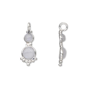 drop, sterling silver and rainbow moonstone (natural), 21.5x8mm with 4mm and 5mm round cabochons. sold individually.