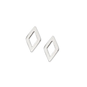 drop, sterling silver, open diamond, 13x7.5mm. pkg of 2.