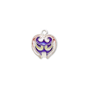 drop, sterling silver with cloisonne, blue, 14x12mm mask. sold individually.
