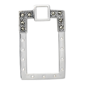 drop, sterling silver with marcasite, 39x24mm rectangle.  sold individually.