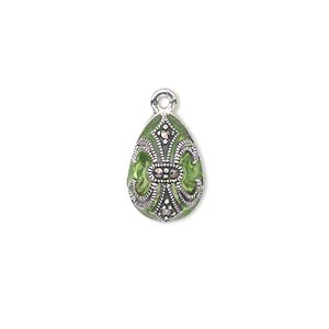 drop, sterling silver with marcasite and enamel, green, 15x10mm teardrop with fleur-de-lis design. sold individually.