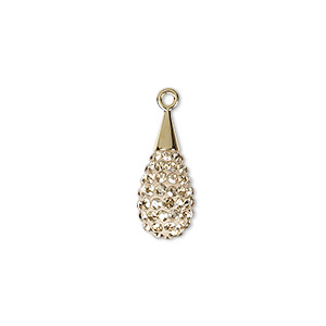drop, swarovski crystal / epoxy / gold-plated brass, crystal golden shadow and pearl silk, 20mm pave drop pendant (67563). sold per pkg of 6.
