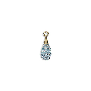 drop, swarovski crystal / epoxy / gold-plated brass, crystal passions, multicolored, 14mm pave drop pendant (67563). sold individually.