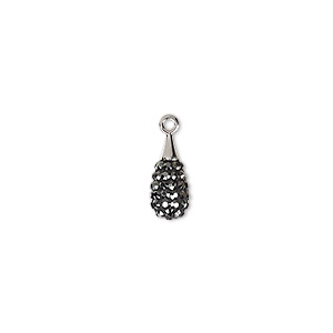 drop, swarovski crystal / epoxy / rhodium-plated brass, crystal passions, jet hematite and black, 14mm pave drop pendant (67563). sold individually.