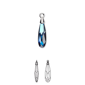 drop, swarovski crystal and rhodium-plated brass, crystal passions, crystal bermuda blue, 17.5x4mm faceted raindrop pendant (6533). sold individually.