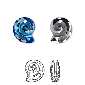 drop, swarovski crystal, crystal passions, partially frosted crystal bermuda blue p, 14mm faceted sea snail pendant (6731). sold individually.