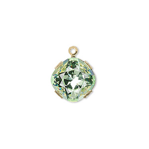 drop, swarovski crystals and gold-plated brass, chrysolite, 13x13mm diamond (18704). sold per pkg of 24.