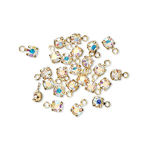 drop, swarovski crystals and gold-plated brass, crystal passions, crystal ab, 3-3.2mm round (17704), pp24. sold per pkg of 24.