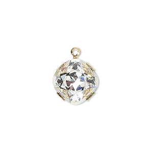 drop, swarovski crystals and gold-plated brass, crystal passions, crystal clear, foil back, 13x13mm single-stone faceted diamond. sold individually.