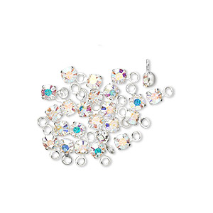 drop, swarovski crystals and rhodium-plated brass, crystal ab, 3-3.2mm round (17704), pp24. sold per pkg of 48.