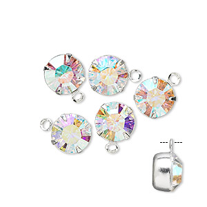 drop, swarovski crystals and rhodium-plated brass, crystal ab, 8.16-8.41mm round (17704), ss39. sold per pkg of 48.