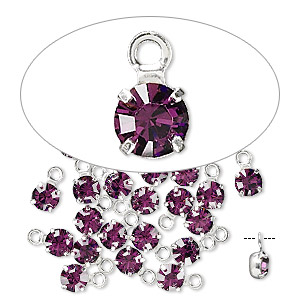 drop, swarovski crystals and rhodium-plated brass, crystal passions, amethyst, 4-4.1mm round (17704), pp32. sold per pkg of 24.