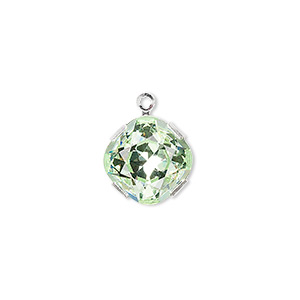 drop, swarovski crystals and rhodium-plated brass, crystal passions, chrysolite, 13mm diamond (18704). sold individually.