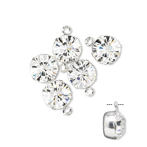 drop, swarovski crystals and rhodium-plated brass, crystal passions, crystal clear, 8.16-8.41mm round (17704), ss39. sold per pkg of 6.